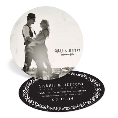 Cupid's Arrow Circle Save the Date Cards