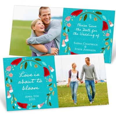 Spring Wreath Save the Date Cards