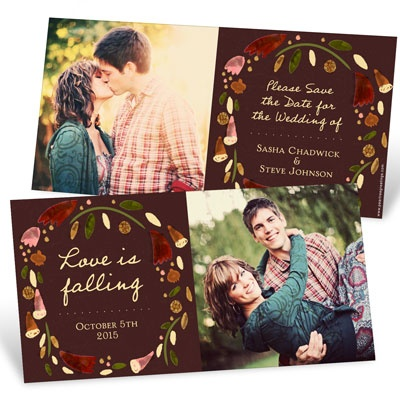 Fall Wreath Save the Date Cards