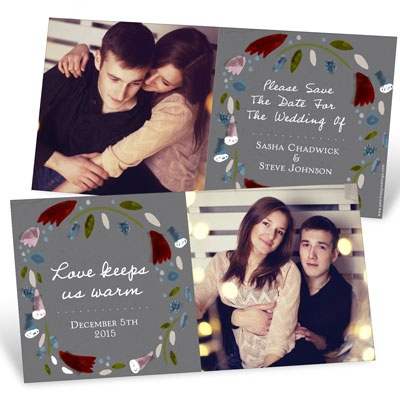 Winter Wreath Save the Date Cards