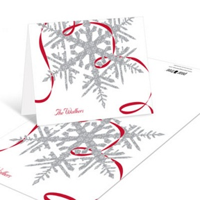 Silver Snowflake -- Christmas Thank You Cards
