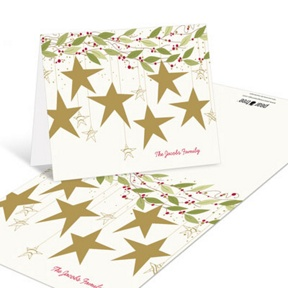 Gold Stars -- Christmas Thank You Cards