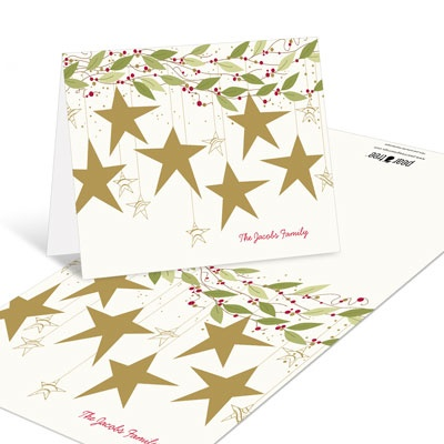 Gold Stars Christmas Thank You Cards