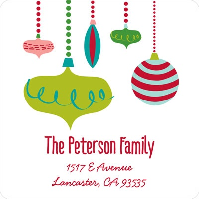 Retro Ornaments Christmas Address Labels