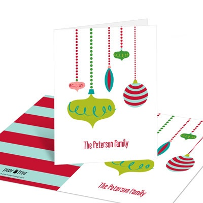 Retro Ornaments Christmas Thank You Cards