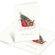 Classic Sleigh Christmas Mini Note Cards