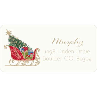 Classic Sleigh Christmas Address Labels