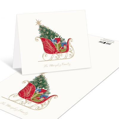 Classic Sleigh Christmas Thank You Cards