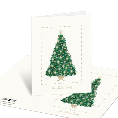 Candlelit Tree Christmas Thank You Cards