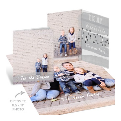 Gray Sequin-Look Poster Photo Christmas Cards