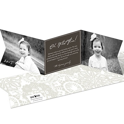 Ribbon Greeting Photo Christmas Cards