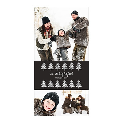 Photo Paper Glitter Tri-Photo Vertical Photo Christmas Cards