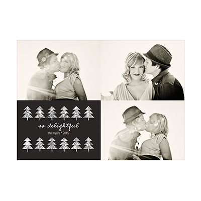 Photo Paper Glitter Tri-Photo Holiday Photo Cards