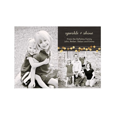 Photo Paper Gold Sequin Look Holiday Photo Cards