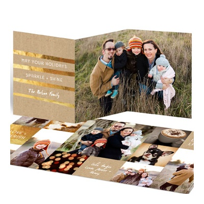 Golden Greeting Trifold Photo Christmas Cards