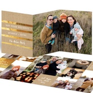 Golden Greeting Trifold Holiday Photo Cards
