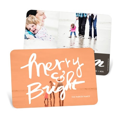 Merry & Bright Photo Screen Photo Christmas Cards