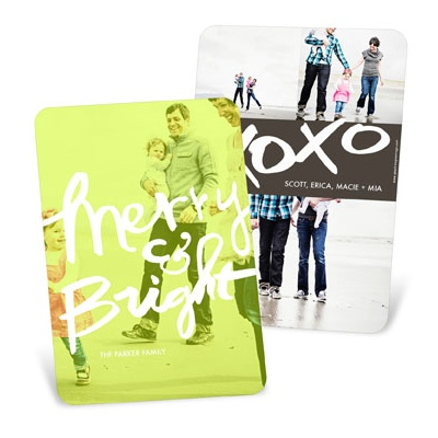 Merry & Bright Vertical Photo Screen Holiday Photo Cards