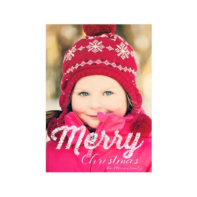 Photo Paper Merry Lights Vertical Photo Christmas Cards
