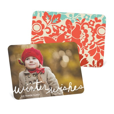 Colorful Photo Backer Holiday Photo Cards