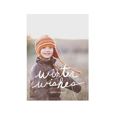 Photo Paper Handwritten Wishes Vertical Photo Christmas Cards