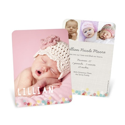 Twinkle Lights Vertical Birth Announcements