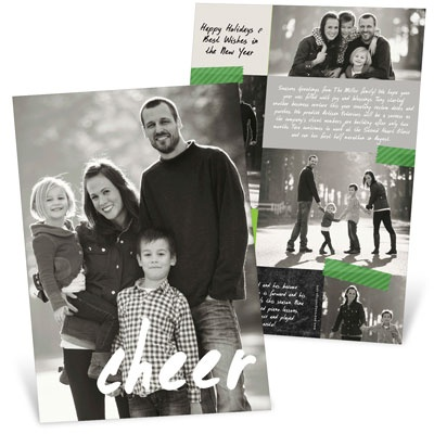 Handwritten Cheer Vertical Photo Christmas Cards