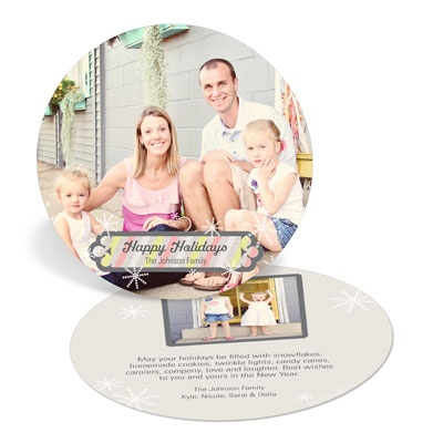 Stripes And Snowflakes Circle Holiday Photo Cards