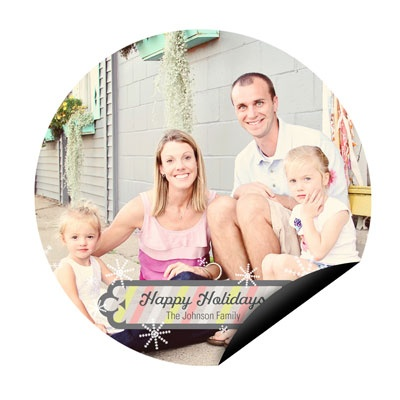 Stripes And Snowflakes Circle Magnet Holiday Photo Cards