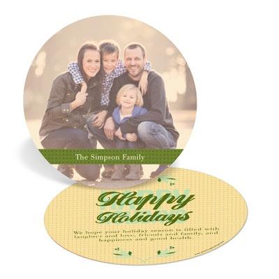 Golden Glow Circle Photo Christmas Cards