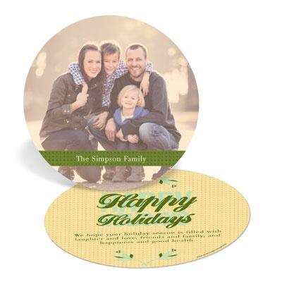 Golden Glow Circle Holiday Photo Cards