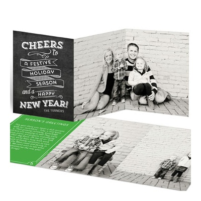 Chalkboard Trifold Greeting Holiday Photo Cards