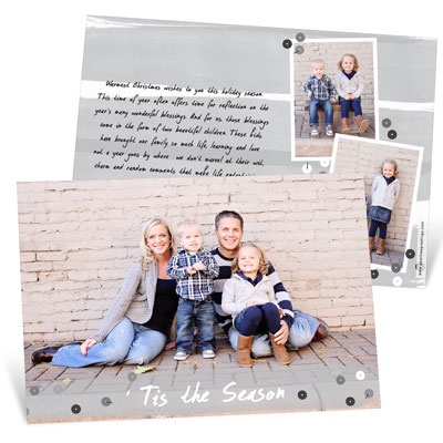 Gray Sequin Look Photo Christmas Cards