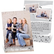 Gray Sequin Look Vertical Christmas Cards