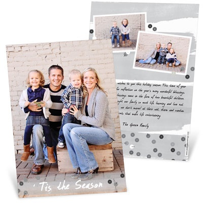 Gray Sequin Look Vertical Photo Christmas Cards
