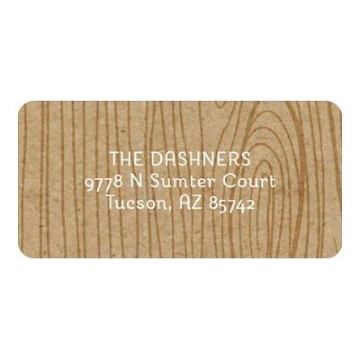 Wood Grain Christmas Address Labels