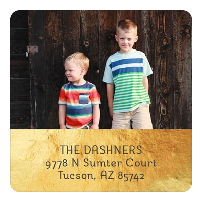 Golden Photo Christmas Address Labels