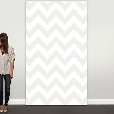 Gray Chevron Photo Backdrop Graduation Party Decorations