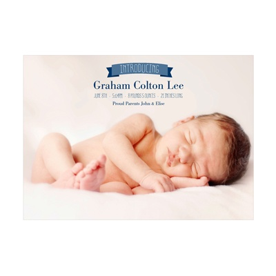 Photo Paper Introduce Me Boy Birth Announcements