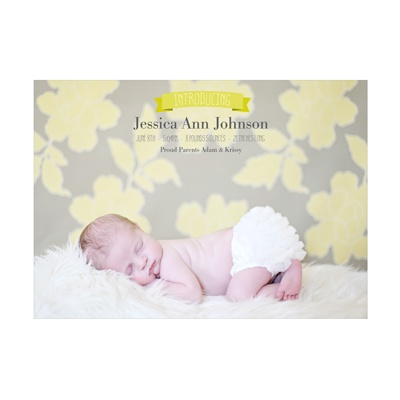 Photo Paper Introduce Me Girl Birth Announcements