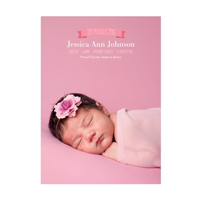 Photo Paper Introduce Me Vertical Girl Birth Announcements