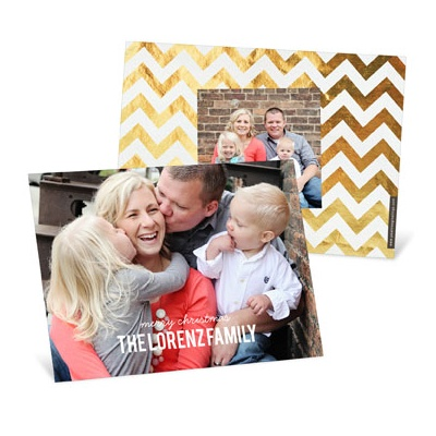 Gold Chevron Holiday Photo Cards
