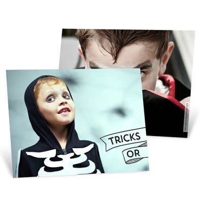 Tricks Or Treats Horizontal Halloween Photo Cards