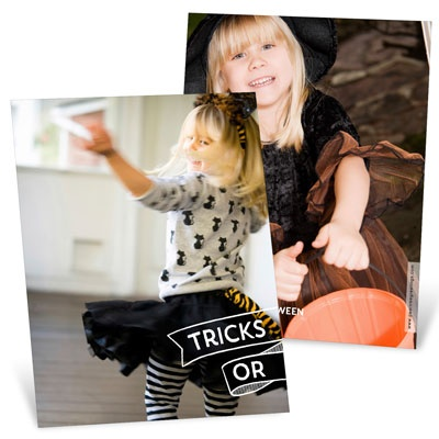 Tricks Or Treats Vertical Halloween Photo Cards