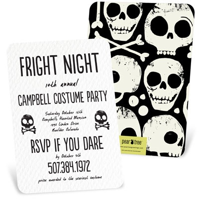 Skull And Crossbones Halloween Invitations