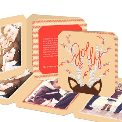 Jolly Antlers Gatefold Photo Christmas Cards