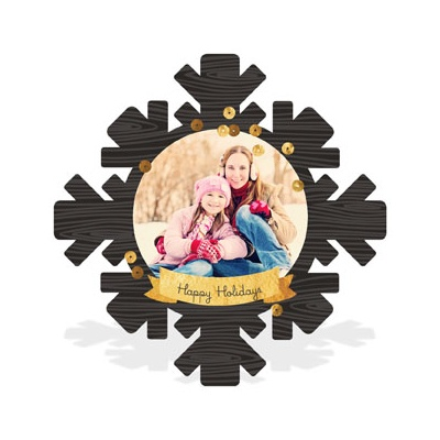 Wood Grain Snowflake Photo Christmas Cards