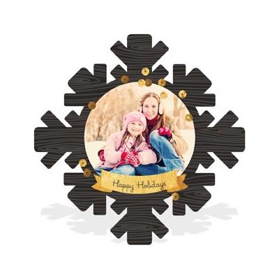 Wood Grain Snowflake Holiday Photo Cards