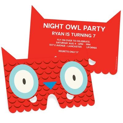 Owl Eyes Mask Kids Birthday Invitations