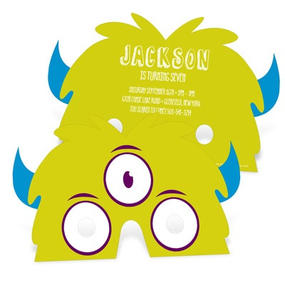3-Eyed Monster Mask Kids Birthday Invitations